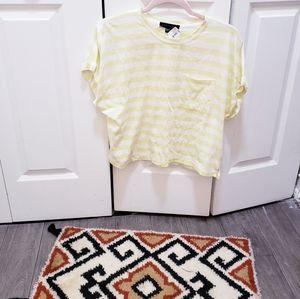 Sanctuary Yellow pocket striped boxy t shirt S